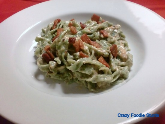 Spinach Fettucine with Bacon Alfredo from DB at Crazy Foodie Stunts