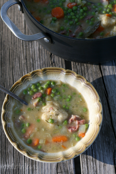 Humble Ham and Pea Soup with Fluffy Dumplings