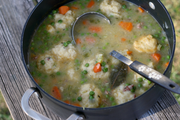 Humble Pea and Ham Soup with Fluffy Dumplings