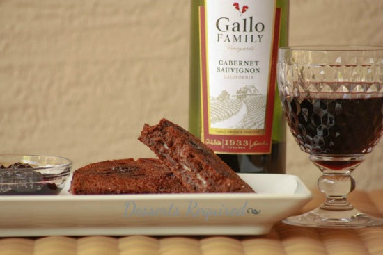 Grilled Mascarpone choc cherry bread blackberry cab compote