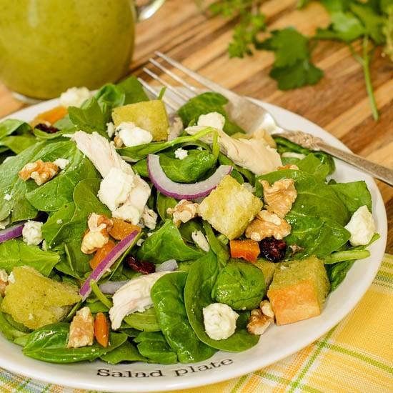 Turkey Spinach Salad with Herb Vinaigrette