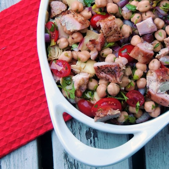 chickpea tabbouleh with grilled chicken and artichokes