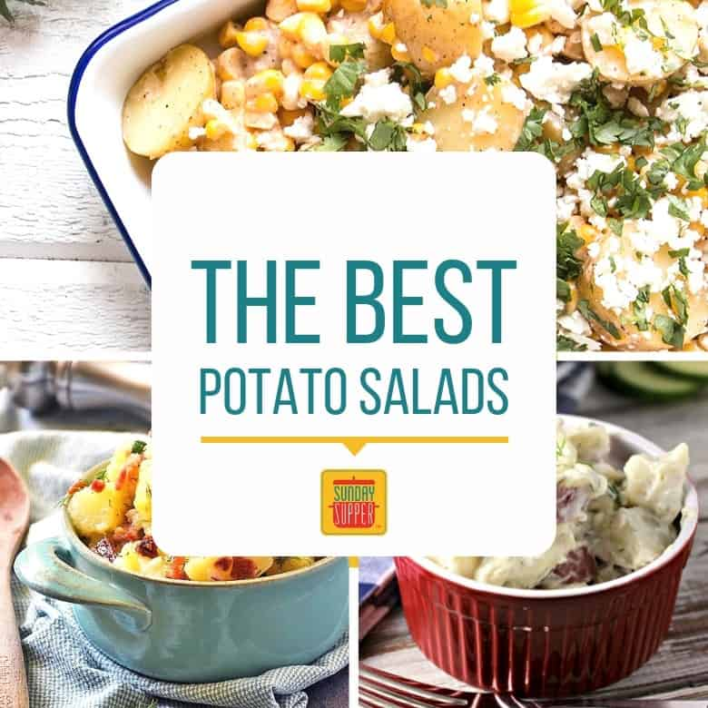 Collage of three of the best potato salad recipes
