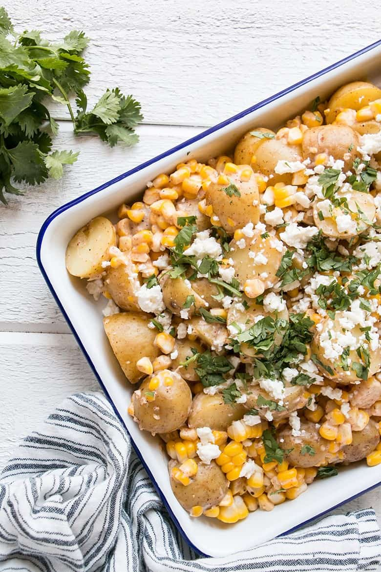 Mexican Street Corn Potato salad with cotija cheese and corn