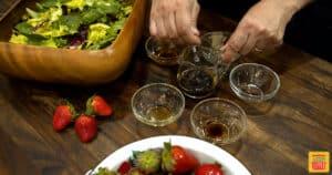 mixing honey balsamic vinaigrette
