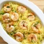 Spaghetti Squash Shrimp with Spinach Mint Pesto #WeekdaySupper