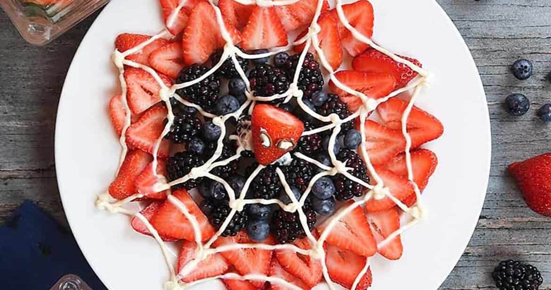 halloween themed food - spider-man web berry dessert