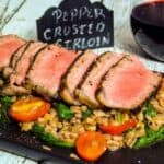 Pepper Crusted Sirloin Steaks with Warm Farro Spinach Salad #WeekdaySupper