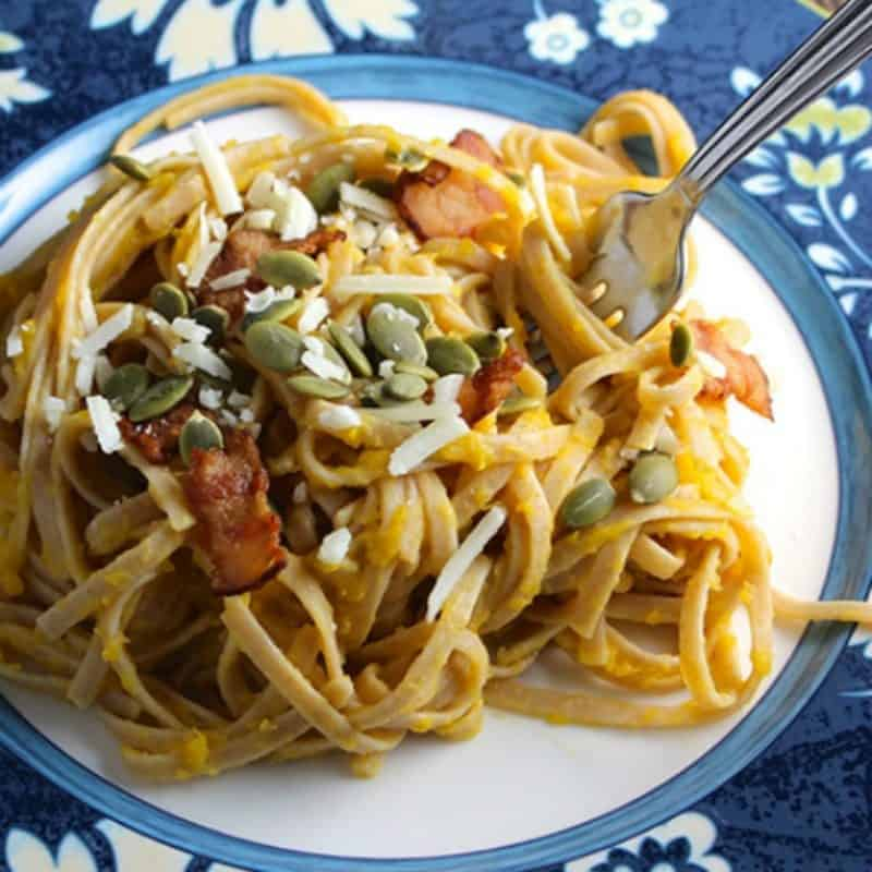 Pasta with Creamy Butternut Squash and Bacon