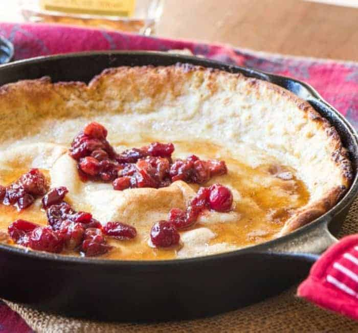 Eggnog Dutch Baby with Cranberry Syrup