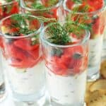 Seafood Appetizers: Salmon shooters in glasses topped with dill