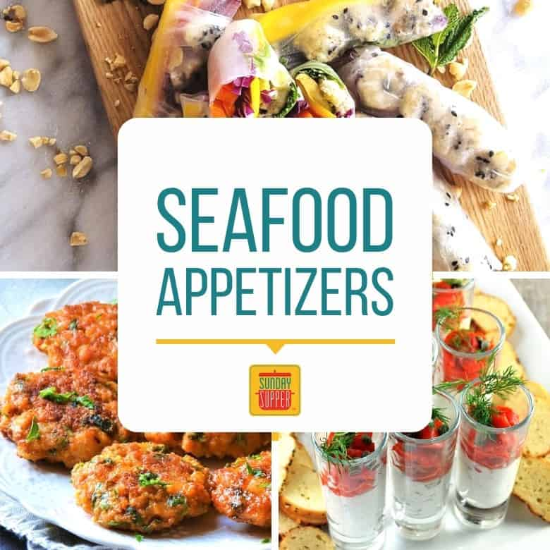 "Collage featuring three seafood appetizers with the text ""Seafood Appetizers"""