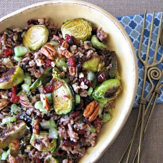 Roasted Brussels Sprouts and Wild Rice Salad plus more Winter Salad Recipes #SundaySupper