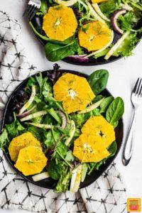 Orange and fennel salad on plates