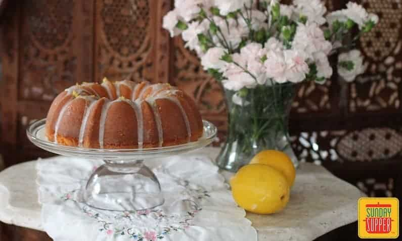 Lemon Yogurt Pound Cake #SundaySupper