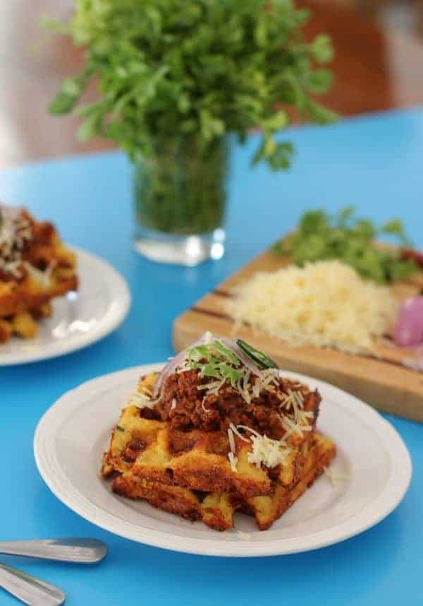 Mexican Cornbread Waffles #SundaySupper