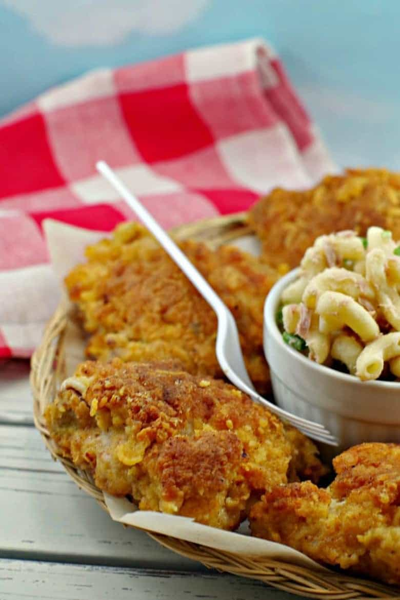 Shortcut skillet fried chicken by Food Meanderings served with macaroni salad and a fork