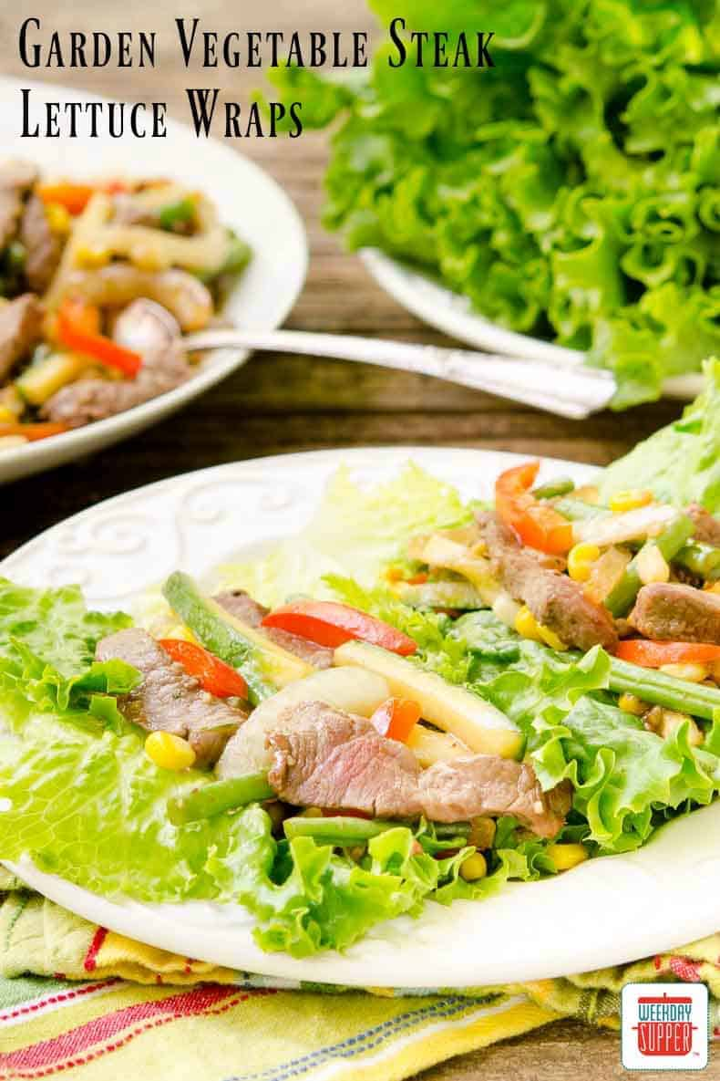 Garden Vegetable Steak Lettuce Wraps made with fresh vegetables and ...