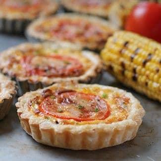 cheesy corn tomato tartlets #SundaySupper