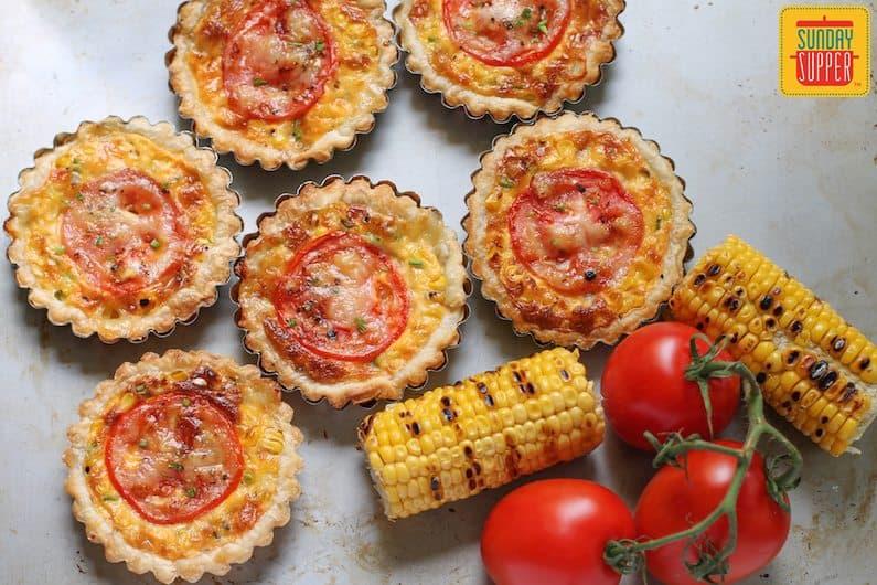 cheesy grilled corn tartlets #SundaySupper