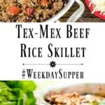 Tex-Mex Beef Rice Skillet is loaded with black beans and tomatoes and topped with cheese. It's a one pot meal that's quick, easy, and healthy too! #WeekdaySupper