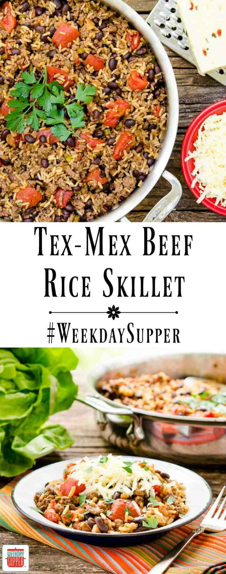 Tex-Mex Beef Rice Skillet is loaded with black beans and tomatoes and ...