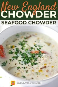 New England seafood chowder pin image