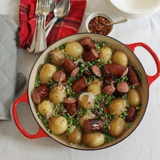 Smothered Potatoes and Sausage #SundaySupper