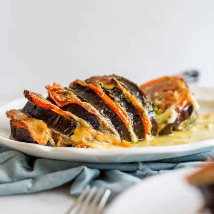 Caprese roasted eggplant recipe on a white platter