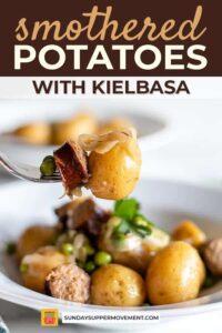 smothered potatoes and sausage pin image