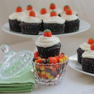Dark Chocolate Pumpkin Cupcakes #SundaySupper