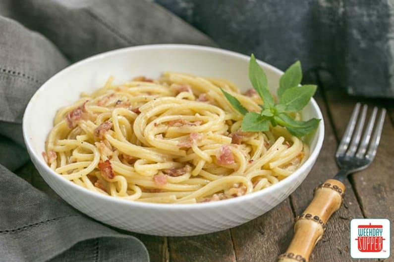 Creamy Spaghetti Carbonara #WeekdaySupper