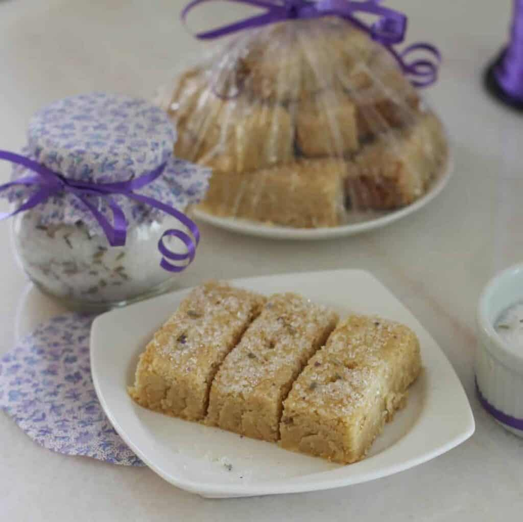 Lavender-infused sugar and Lazy Shortbread