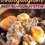 Beef bourguignon recipe pin image