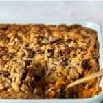 sweet potato casserole pin image pecan topping