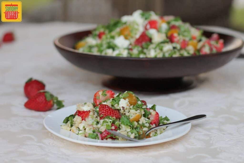 Feta and Strawberry Tabouleh #SundaySupper