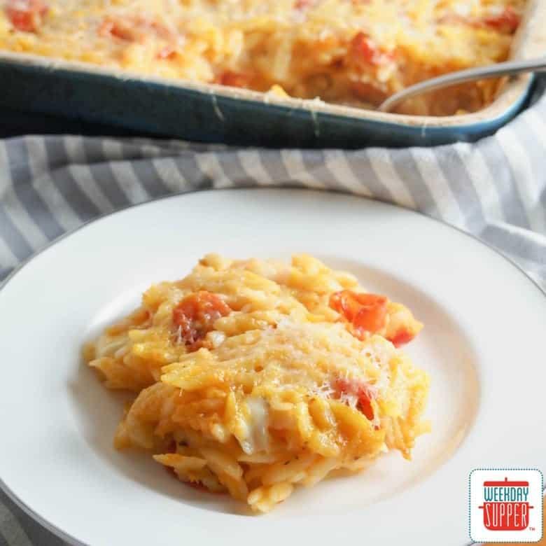 Cheesy Orzo Pasta Bake #WeekdaySupper