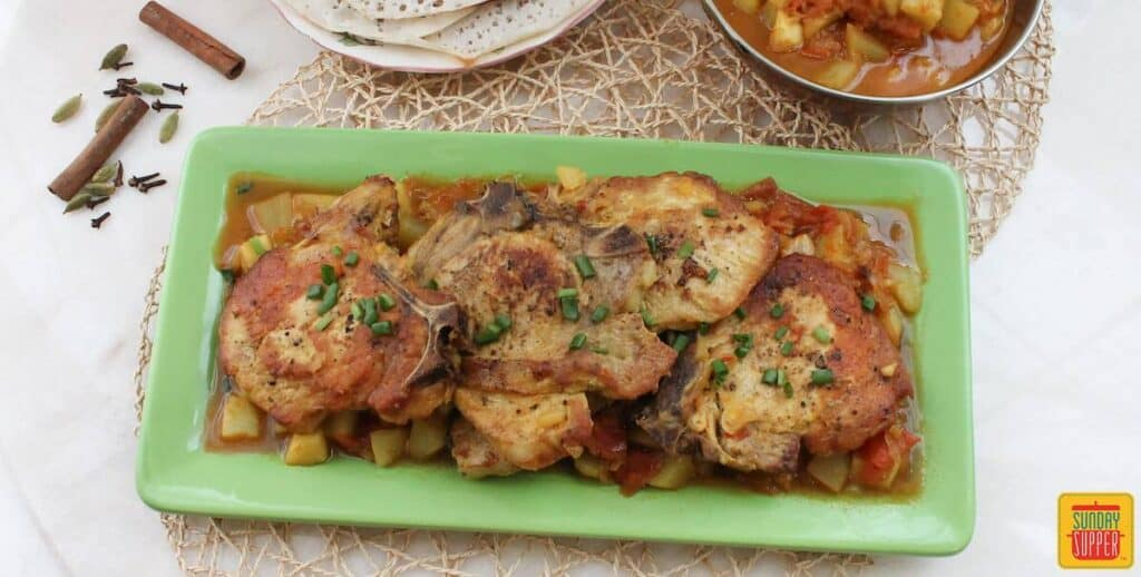 Indian-Spiced Pork Chop Potato Skillet #SundaySupper