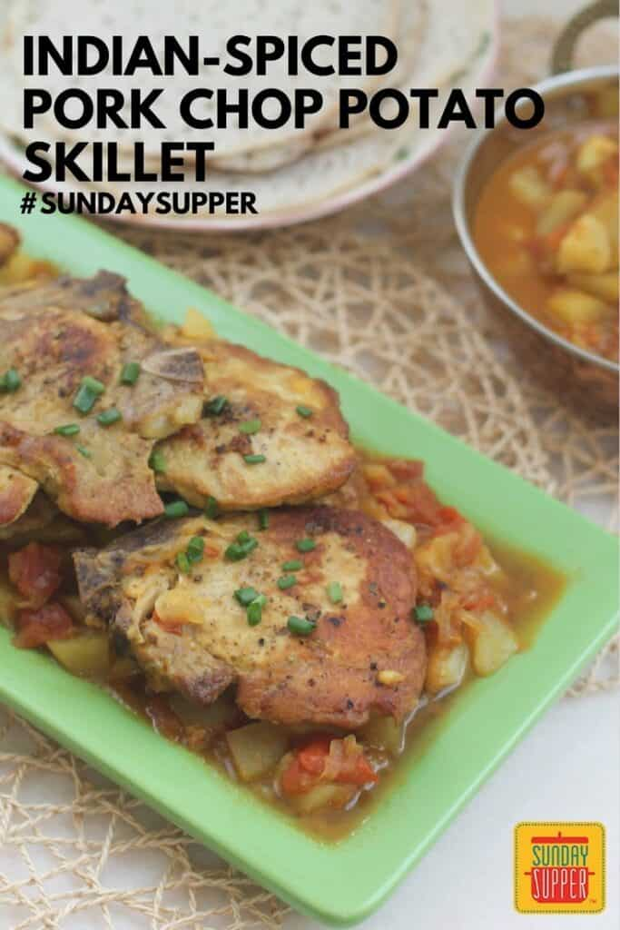 Indian-Spiced Pork Chop Potato Skillet #SundaySupper