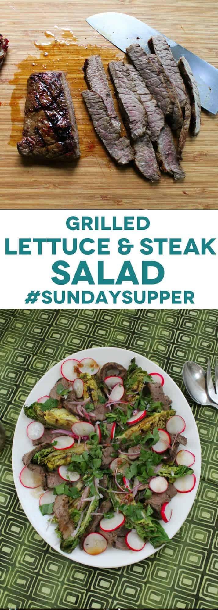 grilled lettuce and steak salad