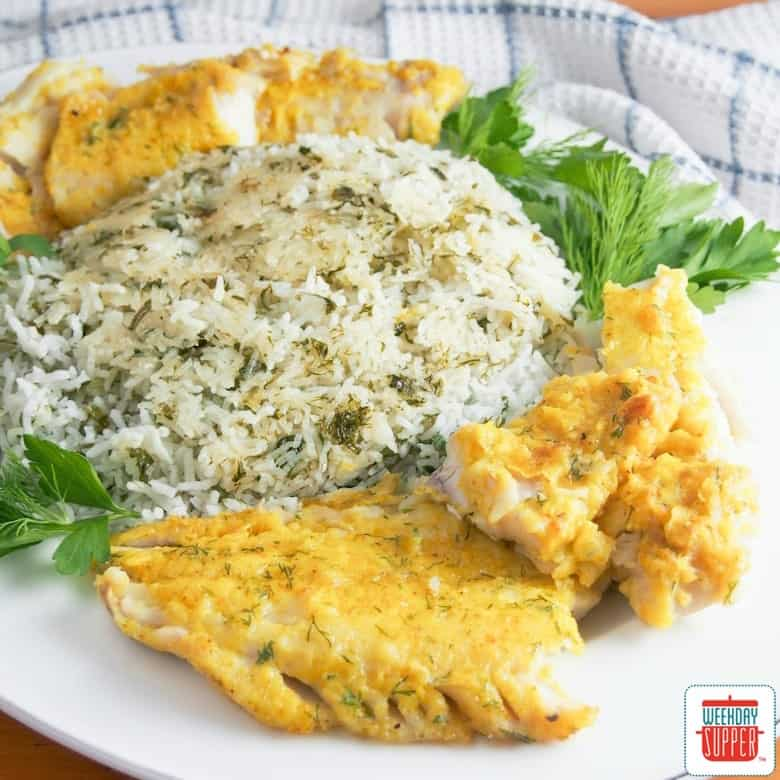 Persian Herbed Rice with Fish #WeekdaySupper
