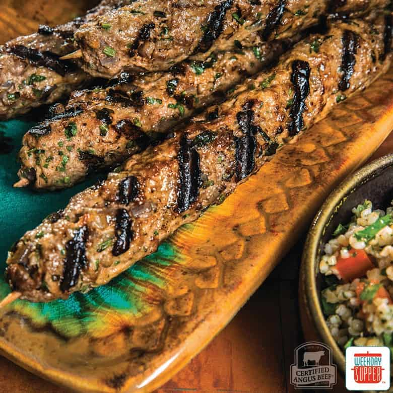 Lebanese Beef Kabobs on a ceramic tray - photo courtesy of Certified Angus Beef® brand