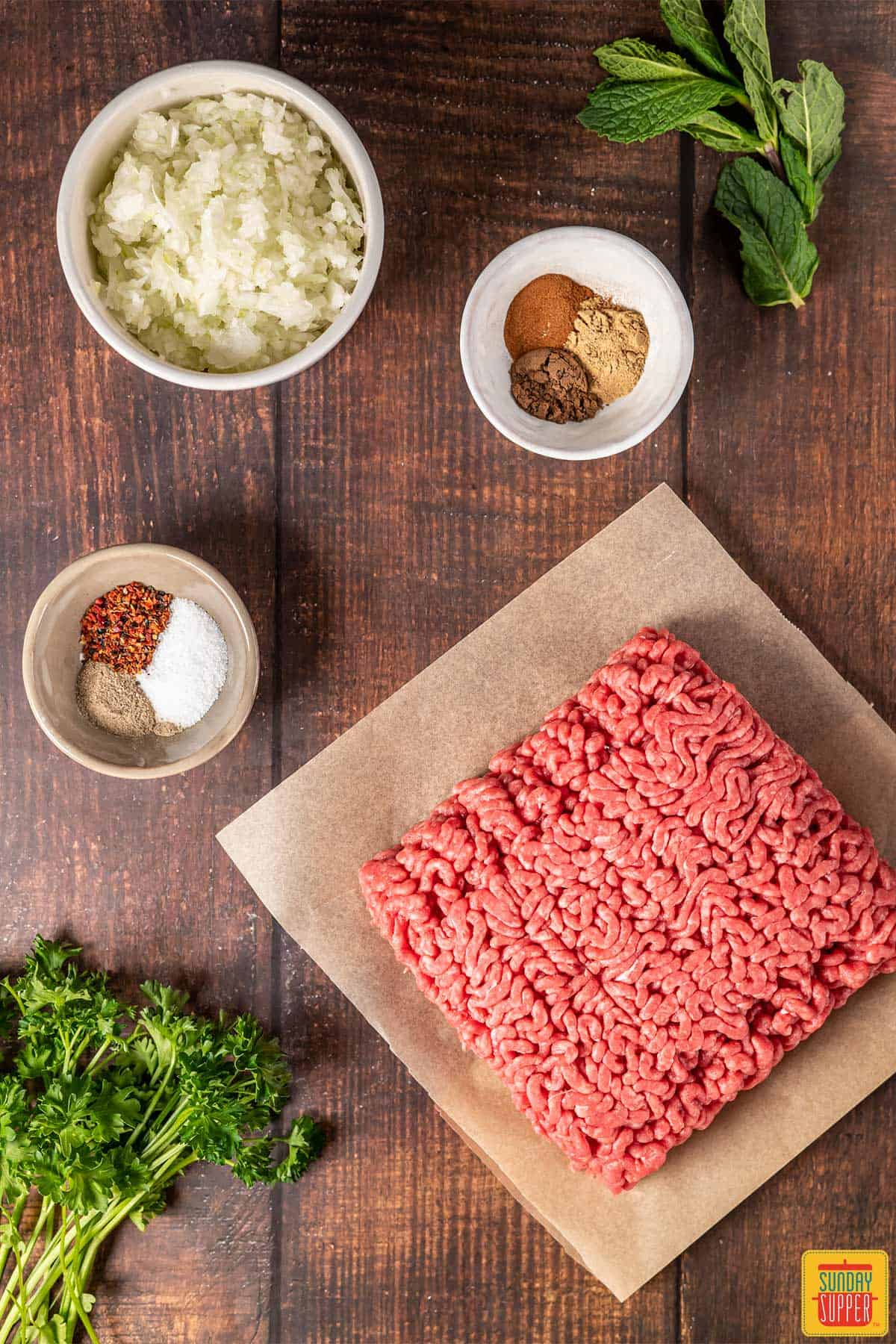 Ingredients to make beef kofta kebabs