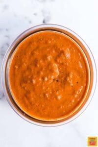 Peri Peri sauce mixed in a small glass bowl