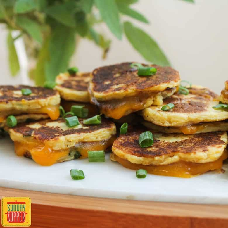 Sunday Supper recipes: Potato Patty Grilled Cheese Bites #SundaySupper