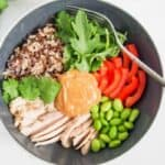 Thai Style Chicken Buddha Bowl with Coconut Peanut Sauce
