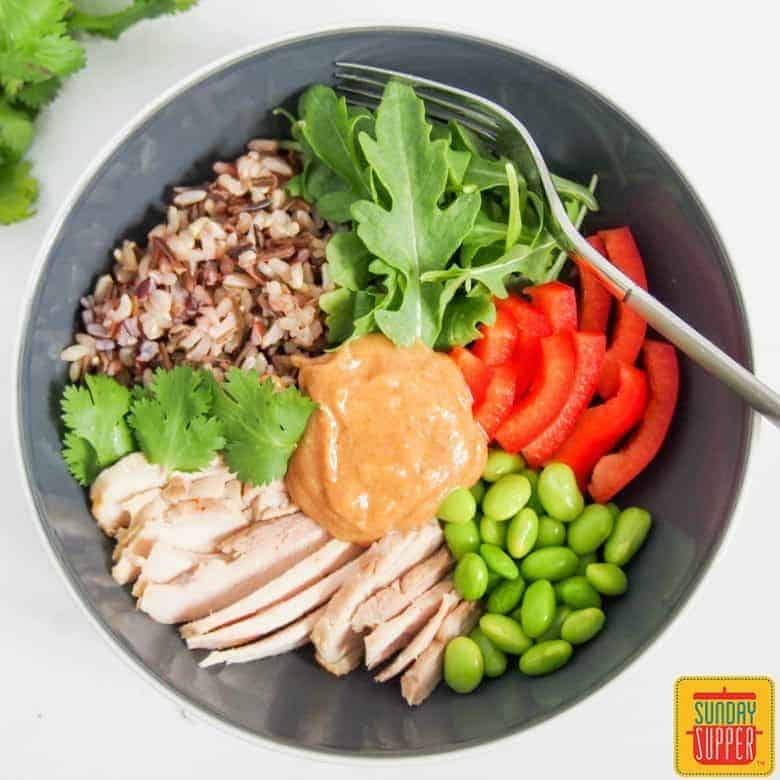 Thai Style Chicken Buddha Bowl #SundaySupper