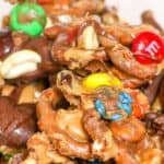 Save chocolate peanut butter pretzels snack mix on Pinterest for later!