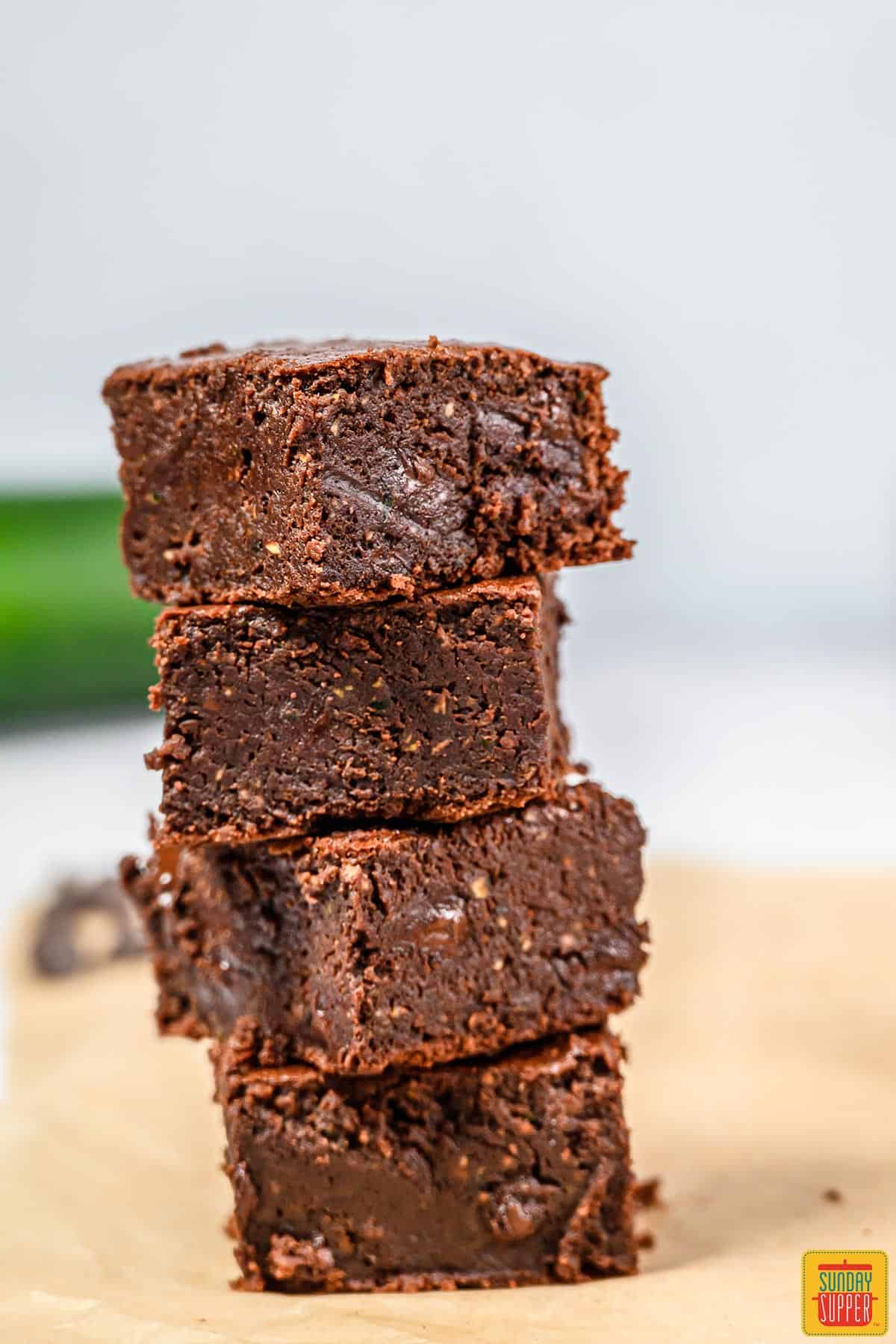 Four stacked zucchini brownies