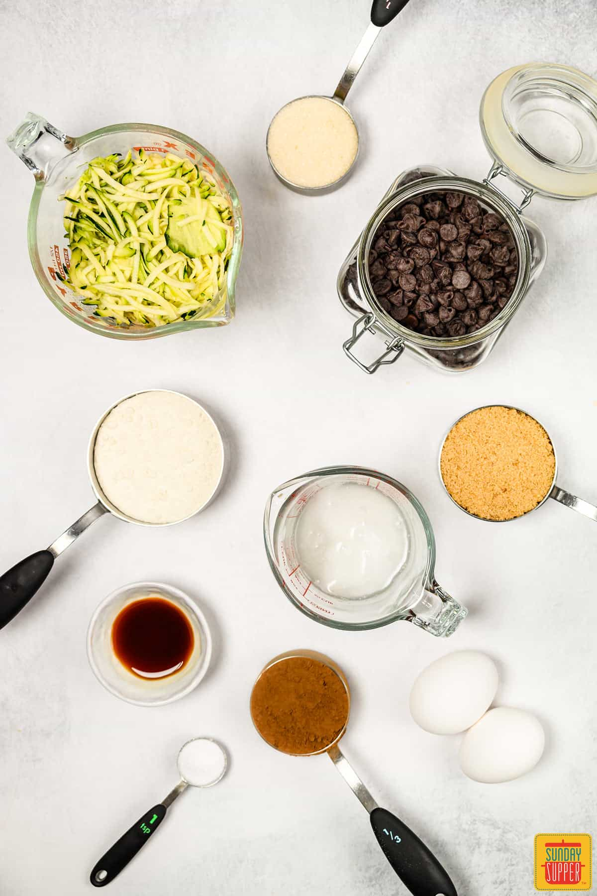 Ingredients needed to make zucchini brownies